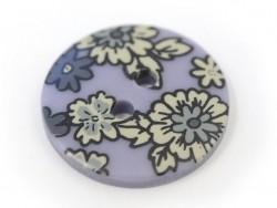 Bouton fleuri rond 18mm - Noémie - plastique