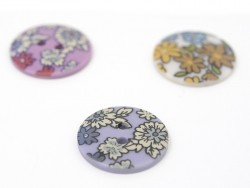 Round button with a floral print (18 mm) - Noémie - Plastic