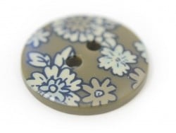 Round button with a floral print (18 mm) - Arthur - Plastic