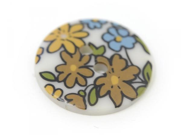 Bouton fleuri rond 18mm - Margot - plastique
