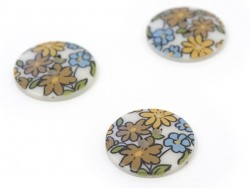 Round button with a floral print(18 mm) - Margot - Plastic
