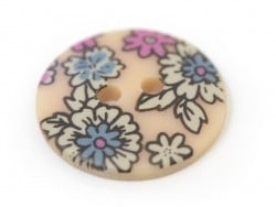 Round button with a floral print (18 mm) - Marie - Plastic
