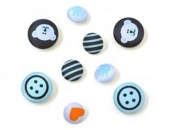 9 boutons brodés 15 et 20 mm - Boy