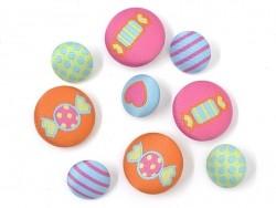 9 boutons brodés 15 et 20 mm - Fun