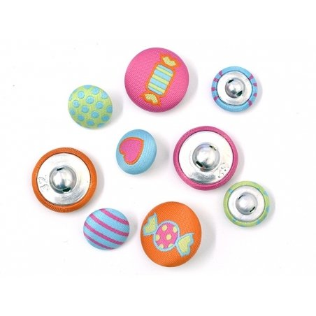 9 embroidered buttons (15 mm and 20 mm) - Fun