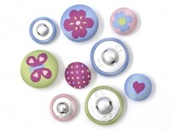 9 embroidered buttons (15 mm and 20 mm) - Lucy