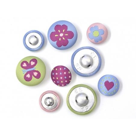 9 boutons brodés 15 et 20 mm - Lucy