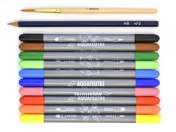 Set of 10 watercolour felt pens