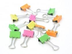 12 foldback clips - neon colours