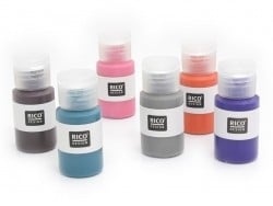 Set of 6 fabric paint bottles - fashionable colours