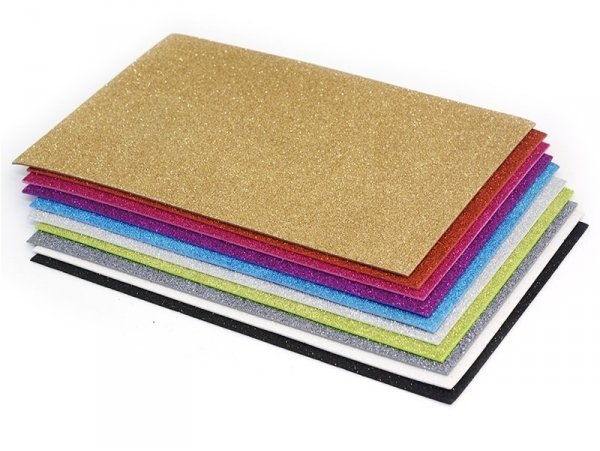 Set of 10 foam sheets with glitter