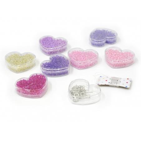 Assortiment de perles de rocailles - tons roses - DIY jewelry kit -