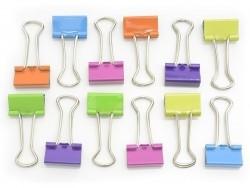 12 Foldback-Klammern - leuchtende Farben