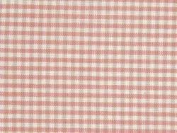 Coupon tissu à motifs -   carreaux crème et rose