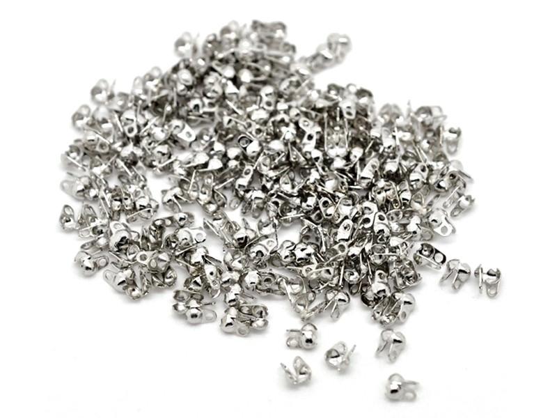 20 dark silver-colouerd bead tips - Size S
