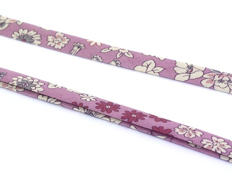 1 m of folded bias binding (9 mm) with a floral pattern - Manon (colour no. 1)