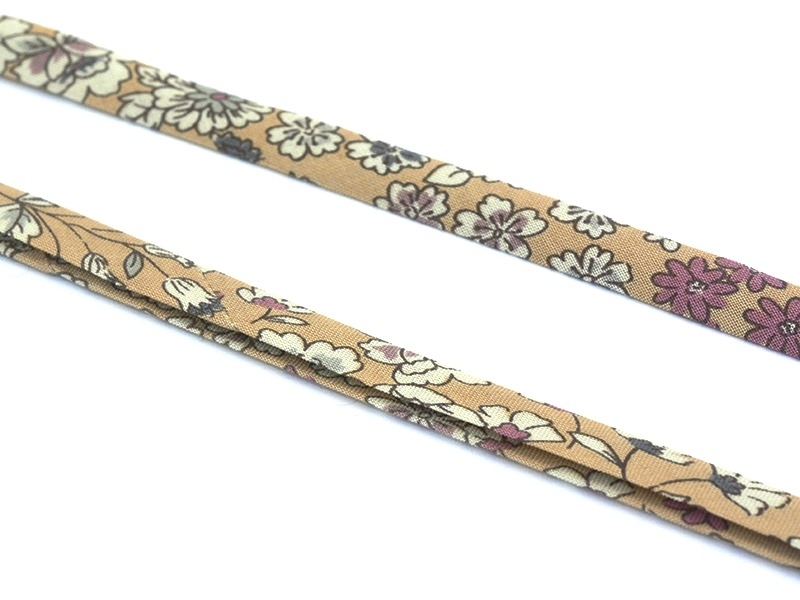 1 m of folded bias binding (9 mm) with a floral pattern - Marie (colour no. 4)