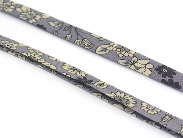 1 m of folded bias binding (9 mm) with a floral pattern - Noémie (colour no. 6)