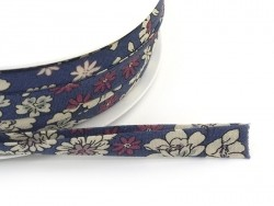 1 m of folded bias binding (9 mm) with a floral pattern - Victor (colour no. 7)
