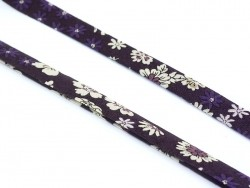 1 m of folded bias binding (9 mm) with a floral pattern - Léo (colour no. 8)