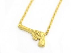 Zarte Halksette mit goldfarbenem Pistolenanhänger