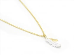 Deliacte feather necklace - gold-coloured