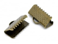 Ribbon crimp end for bias bindings, 13 mm - bronze-coloured