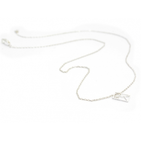Delicate envelope necklace - silver-coloured