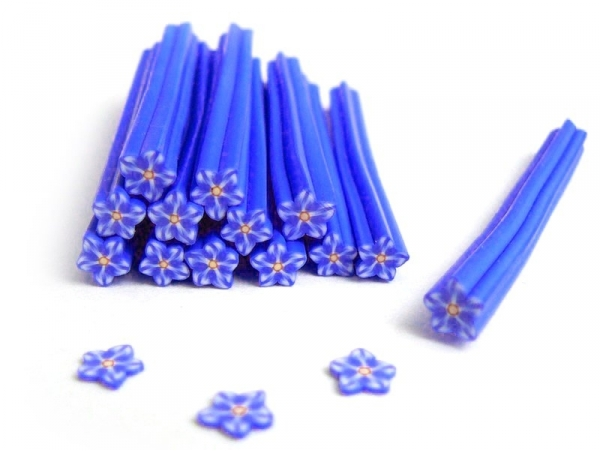 Flower cane - blue, star-shaped