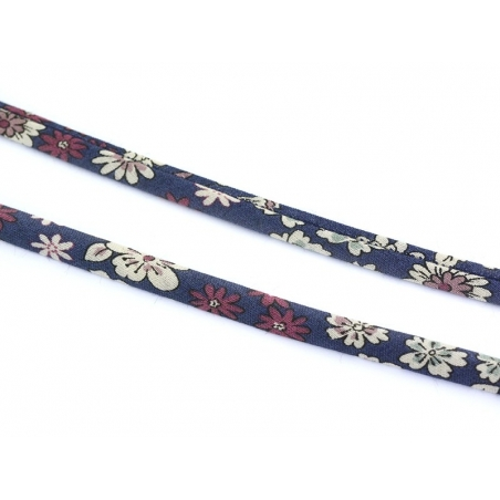 1 m of spaghetti ribbon (7 mm) - floral pattern - Victor (7)