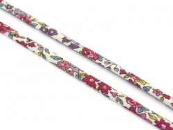 1 m of spaghetti ribbon (7 mm) - floral pattern - Lucie (13)