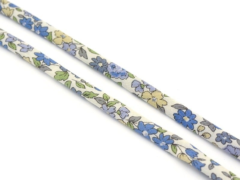 1 m of spaghetti ribbon (7 mm) - floral pattern - Mathilde (15)