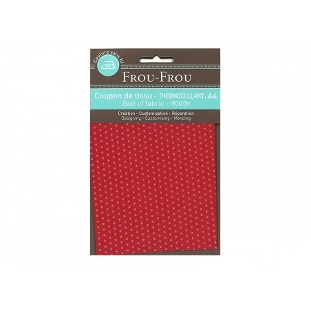 Iron-on remnant with polka dots (A 4) - red