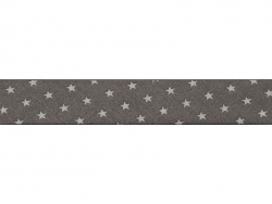 1 m of bias binding (20 mm) with stars - Dark grey (colour no. 101)