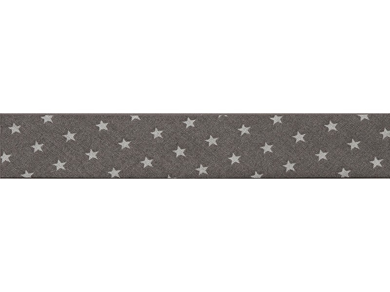 1 m of bias binding (20 mm) with stars - Dark grey (colour no. 101)