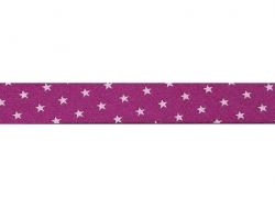 1 m of bias binding (20 mm) with stars - Fuchsia (colour no. 107)