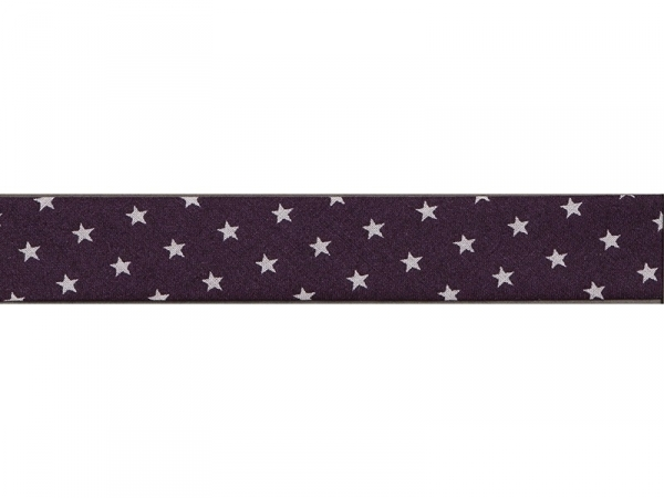 1 m of bias binding (20 mm) with stars - Aubergine (colour no. 106)