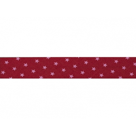 1 m of bias binding (20 mm) with stars - Red (colour no. 108)