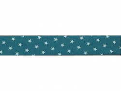 1 m of bias binding (20 mm) with stars - Turquoise (colour no. 111)
