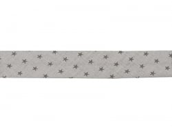 1 m of bias binding (20 mm) with stars - Light grey (colour no. 301)