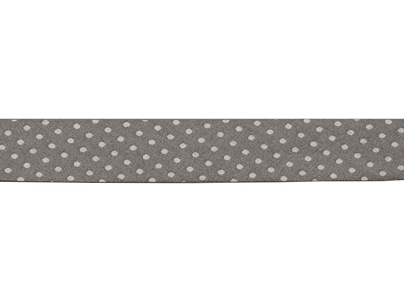 1 m of bias binding (20 mm) with polka dots - Dark grey (colour no. 201)