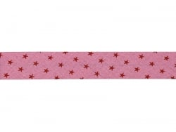 1 m of bias binding (20 mm) with stars - Pink (colour no. 308)
