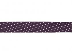 1 m gepunktetes Schrägband (20 mm) - aubergine (Farbnr. 206)