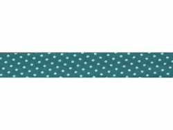 1m biais 20mm à pois 211 - Bleu turquoise