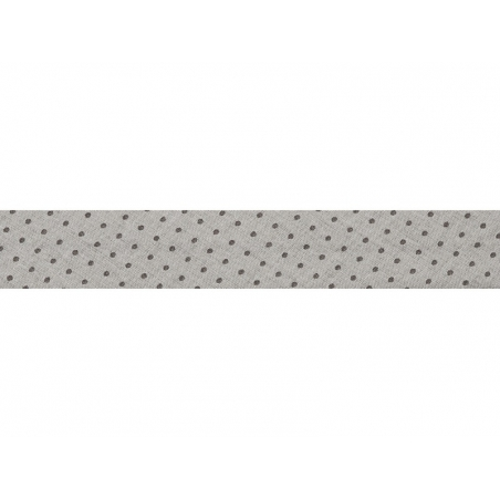 1 m of bias binding (20 mm) with polka dots - Light grey (colour no. 401)