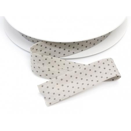 1 m of bias binding (20 mm) with polka dots - Light grey (colour no. 401)