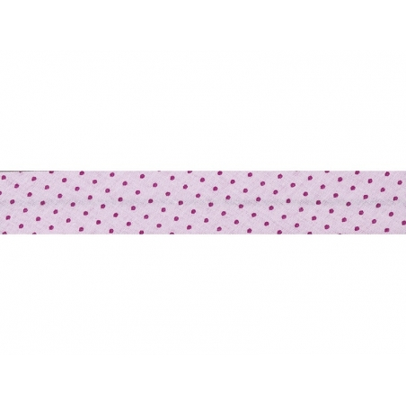 1 m of bias binding (20 mm) with polka dots - Lght pink (colour no. 407)