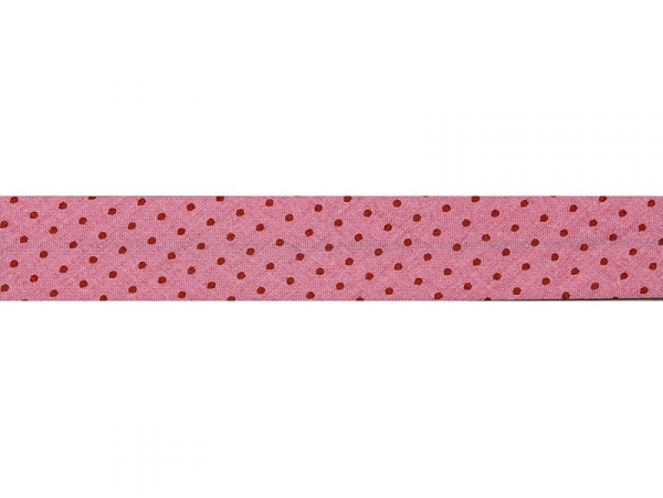 1 m of bias binding (20 mm) with polka dots - Pink (colour no. 408)