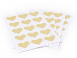 60 heart-shaped kraft paper stickers - 25 mm
