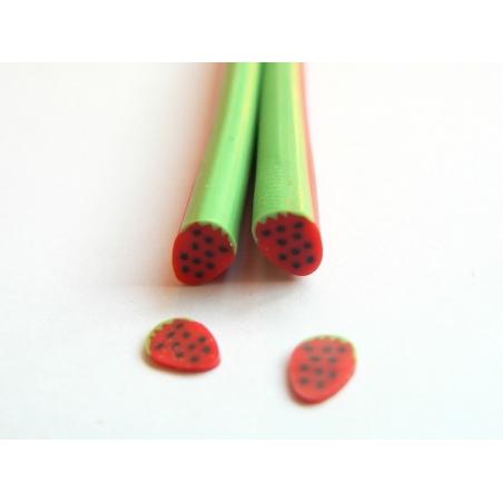 Strawberry cane - entire strawberry, black polka-dots